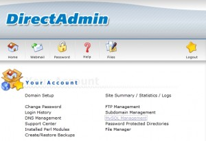 MySQL Management in DirectAdmin